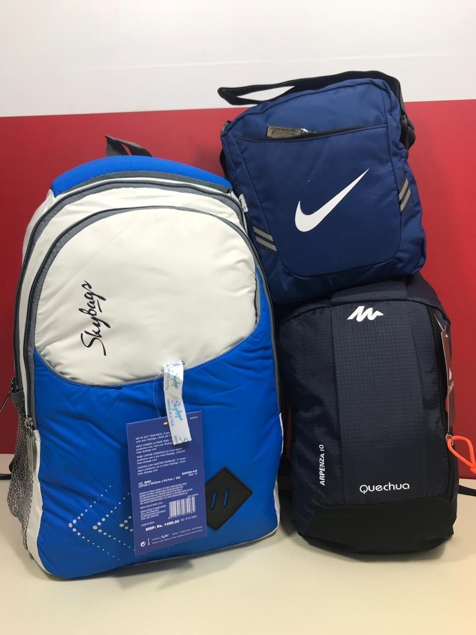 SKYBAG , quechua bagpack, and nike sling SET of 3