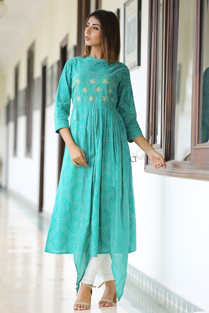 Kia - Cotton Printed Zari Embroidery Work Long Kurti With Tussels