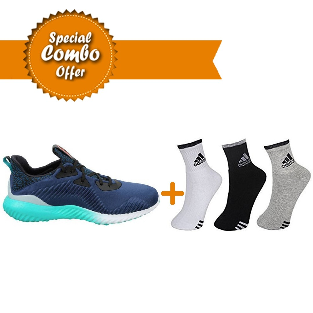ADIDAS RUNNING ALPHA BOUNCE ARAMIS BLUE SHOES AND Adidas SPORTS SOCKS