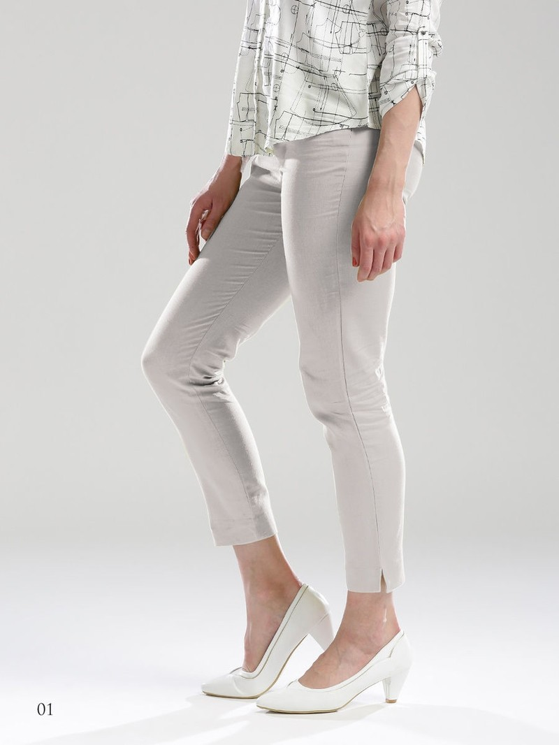 Cotton Flax One Side Pocket Solid Pants Off White