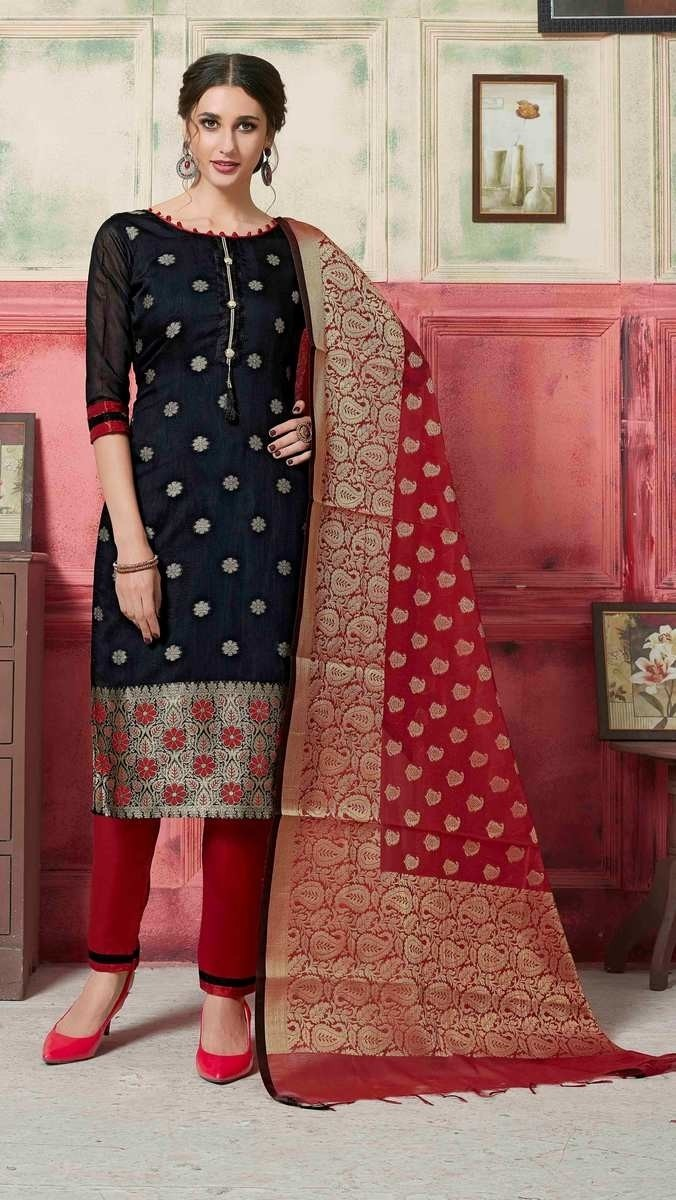 Banarasi Silk Woven Unstitched Suit Set
