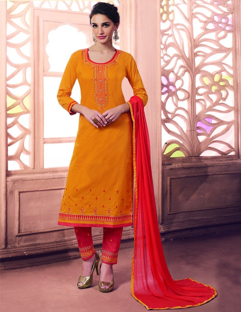 Panna - Cotton Blend Zari Embroidery Unstitched Suit Set