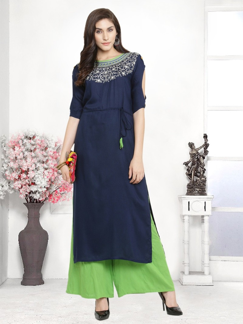 Panna - Rayon Embroidery Unstitches Suit Green