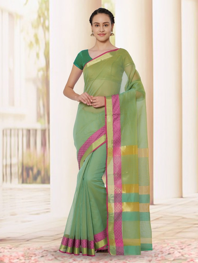 Panna - Cotton Silk Woven Zari Saree With Blouse