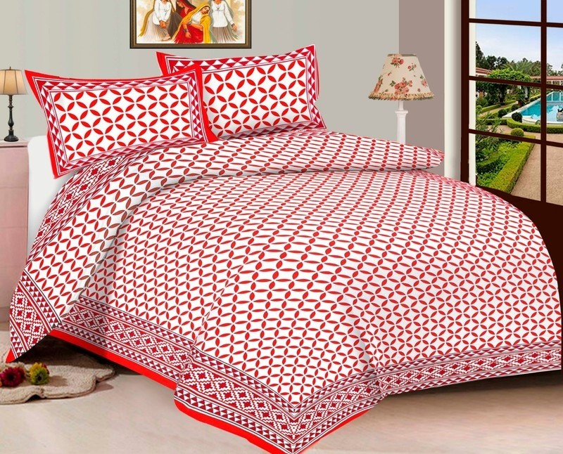 WCL - Cotton Printed Double Bedsheet With Pillow Covers TC-600