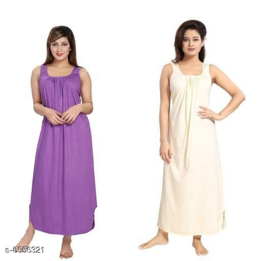 Eva Women's Cotton Nighty Slip Combo