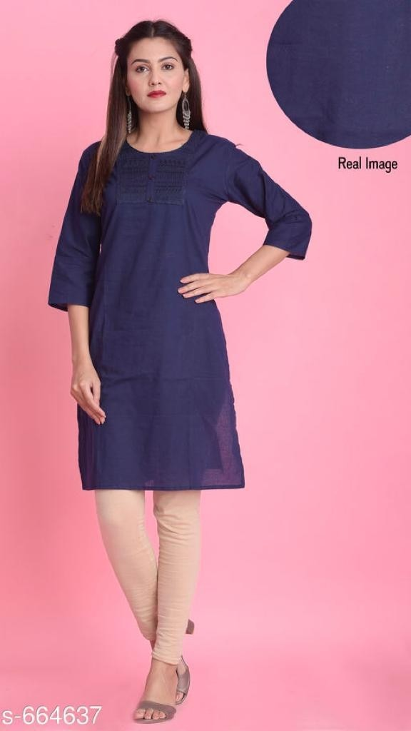 Mandarin Solid Cotton Kurtis Vol 1