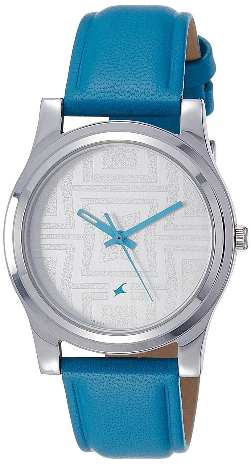 Blue Women Silver-Toned Textured Dial Watch For Women