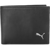Puma Men Black Genuine Leather Wallet With 4 Card Slots