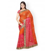 Satrani Orange & Pink Chiffon Embellished Saree
