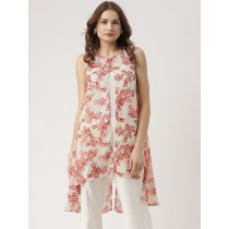 Cream & Peach Printed Longline High-Low Shrug For Women