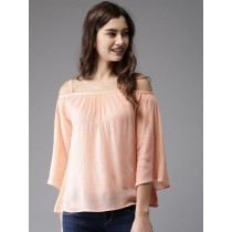 Women Coral Pink A-Line Solid Top