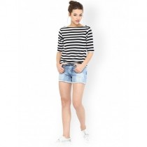 Miss Chase White & Black Striped Top For Women