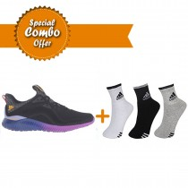 ADIDAS ALPHABOUNCE PURPLE RUNNING SHOES AND Adidas SPORTS SOCKS COMBO OFFER