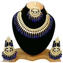 Navy Blue Kundan Necklace Set