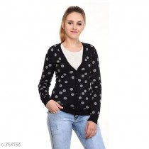 WOMEN WOOLEN CARDIGAN (BLACK / GREY)