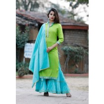 Slub Pure Rayon Long Kurti with Sharara & Dupatta