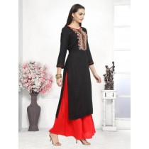 Panna - Rayon Embroidery Unstitches Suit Red