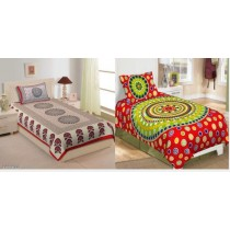 Attractive Cotton 85X59 Single Bedsheets Combo