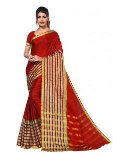 Greeny - Cotton Silk Woven Saree With Blouse