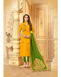 Slub Embroidery Unstitched Suit Set