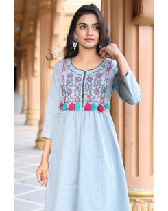 Kia - Cotton Slub Kurti With Pant