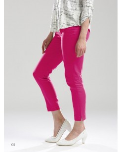 Cotton Flax One Side Pocket Solid Pants Pink